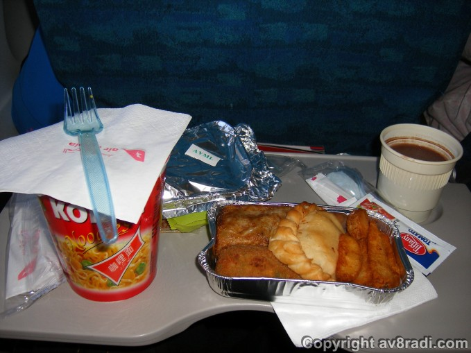 A overview of the meal! Being a no frill airline, meals had be purchased