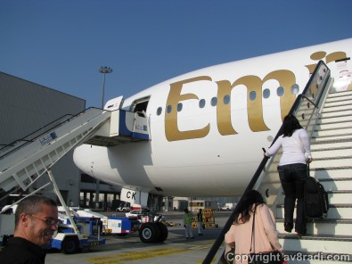Boarding the B777-300ER (REg: A6-ECK)