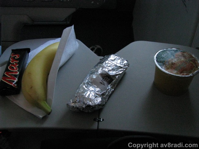 Snack service (just before descent)