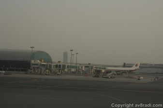 Taxing to the gate, that's Malaysian Airline's Airbus A330 at DXB's Terminal 1