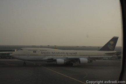 A Saudi Arabian Airline's Boeing 747 getting ready for action. She has been pushed back and waiting for us to pass.