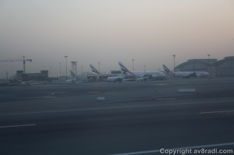 Ek's Aircrafts (2 A380 and 1 A340 visible in this pic) parked by the maintenance hangars.