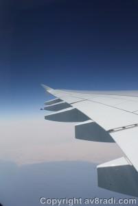 Flying alongside the coastline of UAE