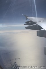 Flying over an Island, approximately North of England as we head towards Greenland