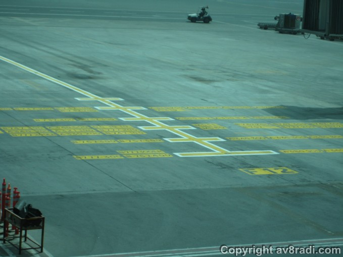 Ground markings act as a visual aid for the ground staff as they guide the aircraft into the gate