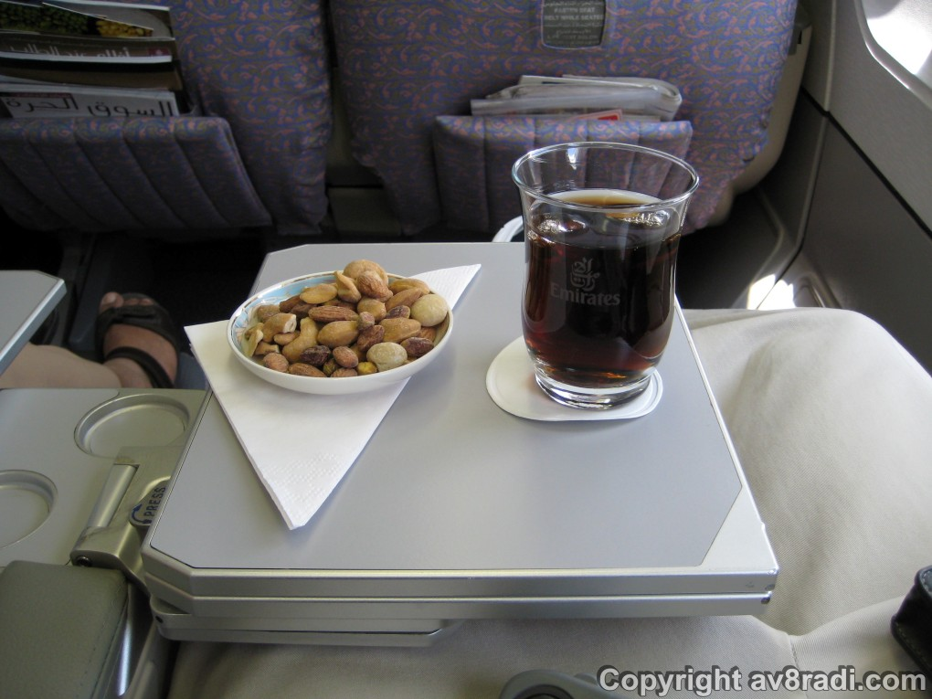 Drink (Pepsi) and snacks (Mixed nuts)