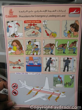 The safety card of the Airbus A330-200