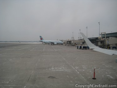 An Airbus A319 parked at YOW