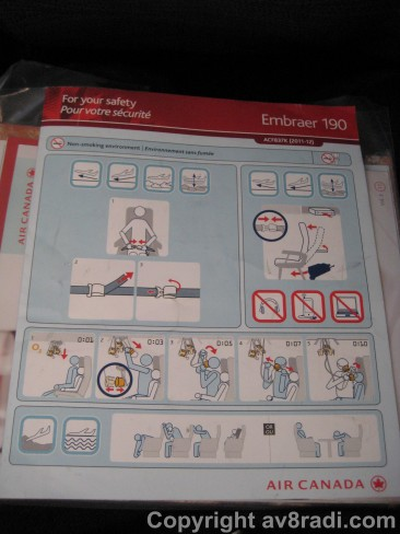 Safety Card for the Embraer 190
