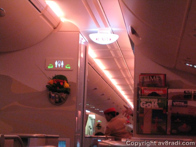 Champagne service. Cabin mood lighting on a long haul flight from YYZ to DXB (Airbus A380-800)