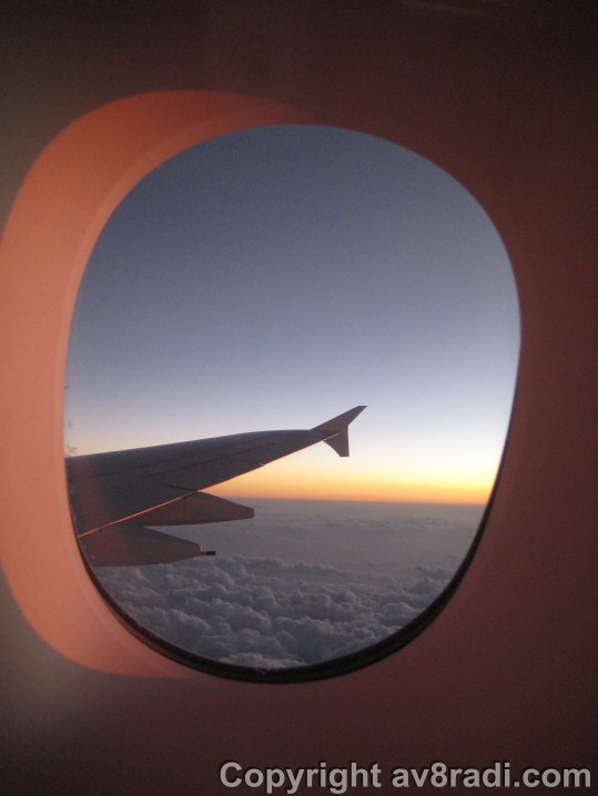 sunset as we fly over Saudi Arabia