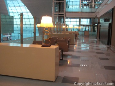 Seating area inside the lounge