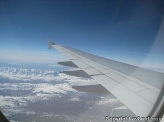 Snow-capped mountains over Europe
