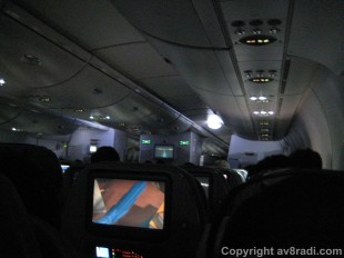 Cabin lighting during taxi and takeoff (EK A380)