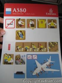 EK A380 Safety Card (in case of water landing)