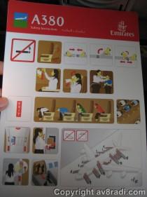 EK A380 Safety Card
