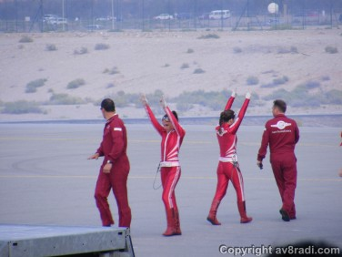 The wingwalking team greet the passengers